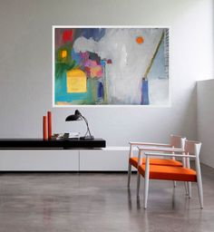 Abstract Expressionist Large Painting Modern Artwork White Purple Blue Grey Orange Contemporary Art Wall Decor 100 x 70 cm, 40 x 28 in by AjdinovicStudio on Etsy