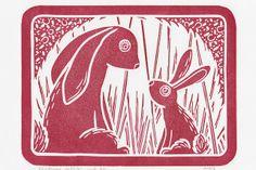 Rabbit Mummy - Red linocut print - modern vintage limited edition original Designed by J David Bennett