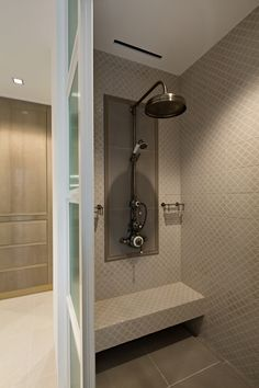 Our Dalby surface-mounted shower in antique nickel finish creates a striking focal point in this tiled shower room. A project by @artalenta in #singapore Nickel Finish, Wall Mount, Door Handles, Shower, Luxury, Antiques, Interior, Projects, Furniture