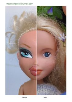 This little ex-Bratz girl has had a major make-under! Rescued from a thrift shop in Tasmania, she has been repainted and restyled to look like a normal girl. Tree Change Dolls! #product_design