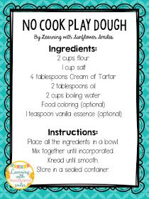 So Easy, No Cook Play Dough - Learning with Sunflower Smiles (cooking with kids ideas play dough) Best Playdough Recipe, Cooked Playdough, Homemade Playdough, Sensory Activities, Toddler Activities, Sensory Rooms, Sensory Bins, Motor Activities, Classroom Activities
