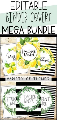 Editable teacher binder covers MEGA Bundle! You get all current and future themes included. Updates regularly with popular themes so you can keep your teacher planner, student planner, and sub binder in style year round!   #teacherbinder #teacherplanner #studentplanner