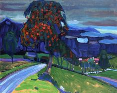 Autumn in Murnau, 1908 by Wassily Kandinsky. Expressionism. landscape. Private Collection