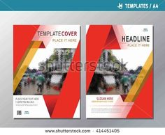 red vector annual report  leaflet brochure template A4 size design flyer multipurpose modern style book cover presentation layout design abstract flat background