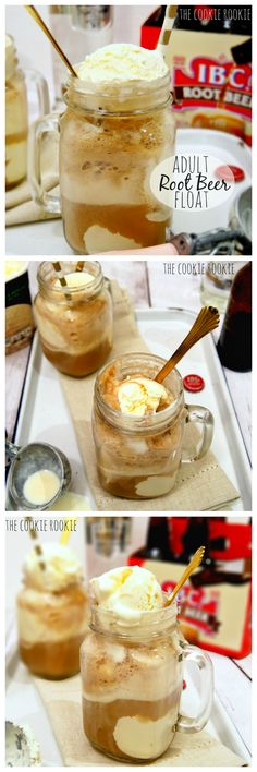 ADULT ROOT BEER FLOATS ~ ice cream, vanilla vodka, and root beer.