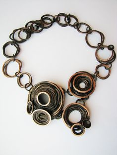 Necklace | Jamie Spinello. 'Barnacle'  Copper with patina.