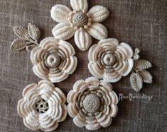 Apliques 4 47 pulgadas 10-12 cm Irish crochet algodón