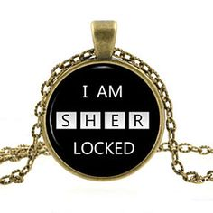 """""""I AM SHERLOCKED,"""" Slot Machine  Scripted Quote Glass Photo Pendant Silver Necklace Jewelry by ChicBridalBoutique on Opensky"""