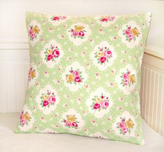 vintage shabby chic style apple green pink roses cushion cover, flower pillow cover 18 inch. £16.50, via Etsy.