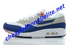 Royal Blue Grey Nike Air Max 1 87 Mens White and Red 554717 100 Air Max Sneakers, Sneakers Nike, Nike Air Max Mens, Grey Nikes, Blue Nike, Air Max 1, Blue Grey, Royal Blue, Red