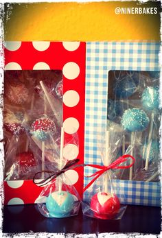 Blogpost: Cake Pops 101: Tips, Tricks & Great Ideas on how to display your cake pops! - for example in cellophan bags, tied with ribbon..and many other ways, check out the list and share your ideas as well!