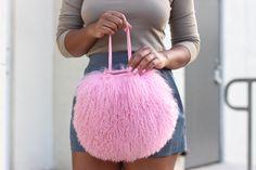 (Cotton Candy Mongolian Fur & Leather Drawstring Mini - by Love Cortnie) Best Black, Black Love, Black Is Beautiful, Beauty And The Beat, Black Entrepreneurs, Barbie, Black Handbags, Black Girl Magic, Swagg