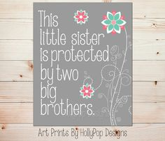 This little sister print Pink mint wall art by HollyPopDesigns