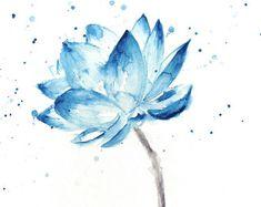 Lotus Print, Lotus schilderij, Lotus bloem Wall Art, Lotus aquarel, Blauwe Lotus, aquarel Lotus, Lotus Wall Art, aquarel bloemen