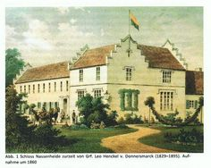 Schloss Nessenheide (c. 1860), Pomeraninan  setting of Elizabeth And Her German Garden by 'Elizabeth' (first published in 1898), now Rzedziny, Poland