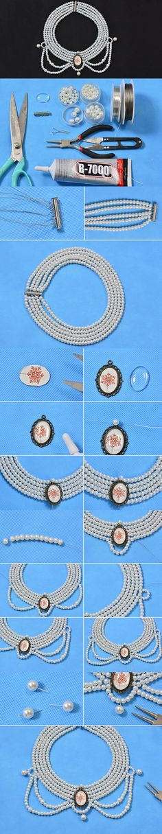 Making Handmade Multi-strand Pearls Choker Necklace for Women