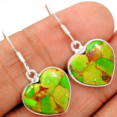 Copper Green Arizona Turquoise 925 Sterling Silver Earrings Jewelry GCTE709 - JJDesignerJewelry