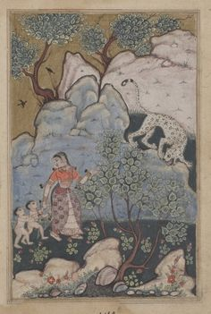 """Abandoning her Home, a Woman with Two Children Goes into the Forest where She Encounters a Leopard."" c. 1560  India, Mughal, Reign of Akbar, 16th century. Cleveland Museum of Art."