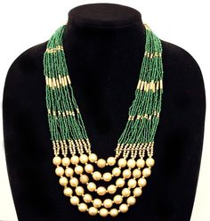 Vintage Emerald Green and Matte Gold Tone Ethnic Tribal Multi-Strand from cosmocollection on Ruby Lane Seed Bead Jewelry, Seed Beads, Beaded Jewelry, Beaded Necklace, Jewellery, Ruby Lane, Matte Gold, Collar Necklace, Emerald Green