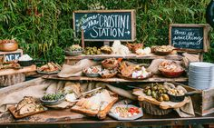 Antipasto crostini wedding food station - brides of adelaide Wedding Food Bars, Wedding Food Stations, Wedding Desserts, Wedding Catering, Wedding Snack Bar, Pizza Wedding, Wedding Buffets, Wedding Buffet Food, Wedding Appetizer Bar