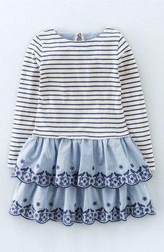Mini Boden Embroidered Ruffle Dress (Toddler Girls, Little Girls & Big Girls)