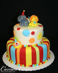 Circus cake (maybe minus the impossible-to-make-and-look-good toppers. Carnival Birthday Cakes, Circus Theme Cakes, Carnival Cakes, Circus Birthday, Themed Cakes, Circus Party, Birthday Ideas, Clown Party, Circus Wedding