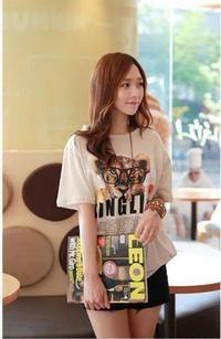 Grey Cute Baby Lion Print Loose Round Neck Asian Fashion T-Shirt
