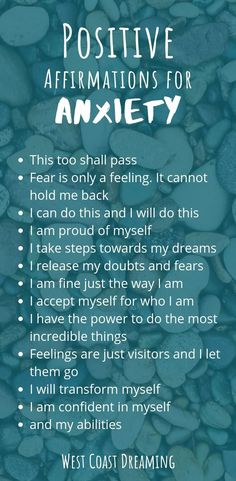 30 Positive affirmations for anxiety | Westcoast Dreaming