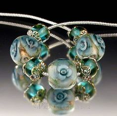 Vickie Lee Lampwork Beads Aquamarine Floral Rounds Capped Rounds SRA | eBay