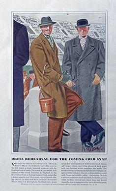 Men's Fashions, Vintage Print Ad. 30's Color Illustrations (Laurence fellows, Art, dress rehesrsal) Original Rare 1938 Esquire Magazine Art