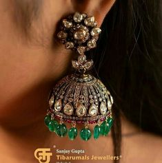 Gold Jhumka Earrings, Indian Jewelry Earrings, Temple Jewellery, Ethnic Jewelry, Diamond Jewelry, Antique Jewelry, Beaded Jewelry, Silver Jewelry, Gold Jewellery