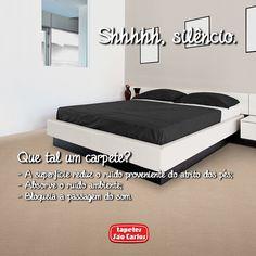 Nossa rotina é cheia de ruídos. Conversas, carros, buzinas, música... Carpetes são uma ótima opção de isolante acústico. Conheça nossas coleções: http://www.tapetessaocarlos.com.br/carpetes  Coleção Itapema, Marajó.