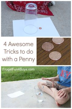 4 Awesome Tricks to do with a Penny - A magic trick, a brain bender, and two fun science demonstrations!  Only need pennies and a few basic materials from around the house.