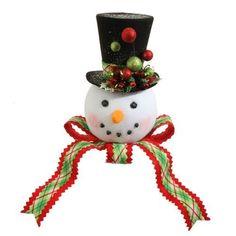 "RAZ 14"" PLAID SNOWMAN HEAD Tree Topper – PerfectlyFestive.com"