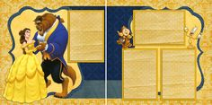 Disney's Beauty and the Beast Double page scrapbook layout.. just add photos!
