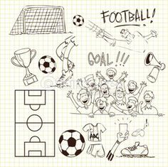 Vector illustration of football theme in doodle style Doodle Patterns, Card Patterns, Outline Drawings, Easy Drawings, Football Doodle, Doodle Art, Soccer Drawing, Diary Decoration, Chalkboard Drawings