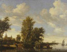 Rivierlandschap met gezicht op Herwen en Aerdt in Gelderland - Salomon van Ruysdael (1649)