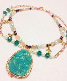 FoxieGal.com- Gu;f Coast Carnival Necklace #beadedjewelry #fashion #jewelry #handmade #handcrafted #fleurdelisjewelry #fleurdelis