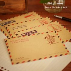 (10 pièces/lot) Grand Vintage Enveloppe Carte Postale Lettre Papeterie Papier Avion Vintage Bureau Fournitures Kraft Enveloppe 11*16