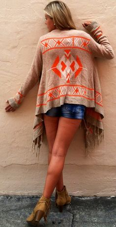 Navajo Poncho (currently sold out - hopefully they'll get more in soon). This beautiful poncho will surely keep you warm in the upcoming fall months. It's native indian pattern is the perfect balance of modern, cute and back to the roots vibe. Pair it up with cut off jeans or your favorite shorts for a not so warm feel. Soooo soft also... It is cut shorter in the back than the front, the sleeves fit tight, and this sweater is a must have in your wardrobe.