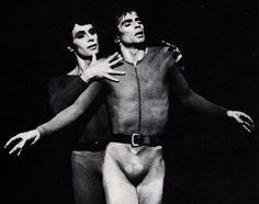 Paolo Bortoluzzi - 1938 - and Rudolf Nureyev - - in Maurice Béjart's - - Songs of a Wayfarer, created 1971 Brussels- Forest