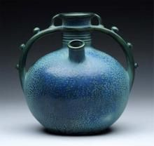 Paul Daschel Ceramic Blue Two Handled Tulip Vase., circa 1906.