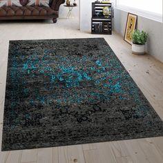Kurzflor-Teppich im Vintage-Look #türkis #blau #vintage #teppich Room Rugs, Shag Rug, Modern, Home Decor, Geometric Designs, Carpet Design, Vintage Rugs, Ad Home, Bedroom Rugs