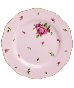 New Country Roses Pink Vintage Salad Plate, Royal Albert
