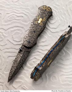 """Master Smith Rick Dunkerley of Montana specializes in mosaic Damascus folders and composite bar fixed blades. """"All of my knives are sole authorship, and I enjoy all aspects of Bladesmithing from forging through gold inlay and engraving."""" Rick Dunkerley dunkerleyknives@gmail.com"""