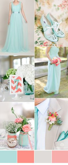 mint blue and peach rustic wedding color ideas