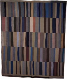 African-American. Strip Bars Antique Quilt, five panels.