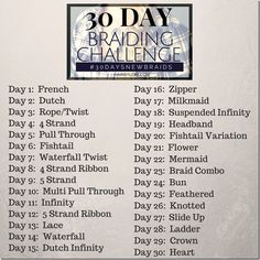 Take the 30 Day Braiding Challenge - 30 Days of New Braids. You'll be amazed at how much your skills will grow! Join the fun!