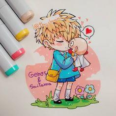 """Amor  inocente😍  Genos y el calvo son mi OTP Suprema, realmente los amo juntos. Además es súper difícil no emparejarlos, si pusieran atención a las OVAs e ilustraciones hechas por Murata (el que dibuja el manga) verían que tengo razón. Además una vez ONE (el creador) y Murata, bromeaban diciendo: si alguien le preguntara a saitama porqué no tiene novia, Genos apareciera diciéndole """"no se preocupe, sensei. Siempre estaré con usted"""" X'D y además decían de que el cyborg en la casa parecía una…"""
