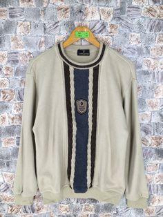 Vintage CLAUDIO VALENTINO Sweatshirt Pullover Medium 1990s Valentino Paris Sweater Valentino Italy Jumper Crewneck Streetwear Khaki Size M by CaptClothingVintage on Etsy